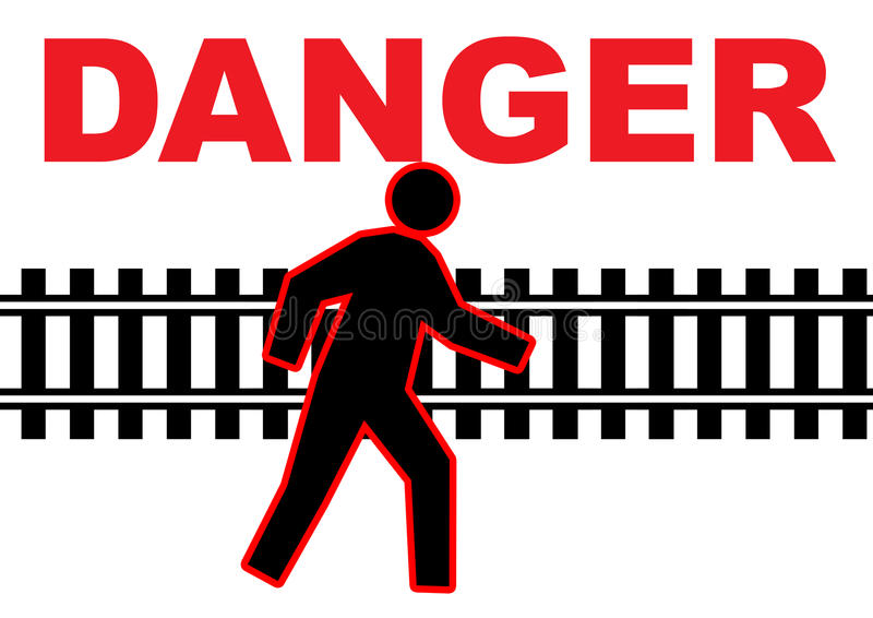 varningsjärnvägspår stock illustrationer