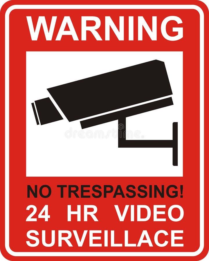 Varningsklistermärke för bevakning för kamera för säkerhetslarmCCTV vektor illustrationer