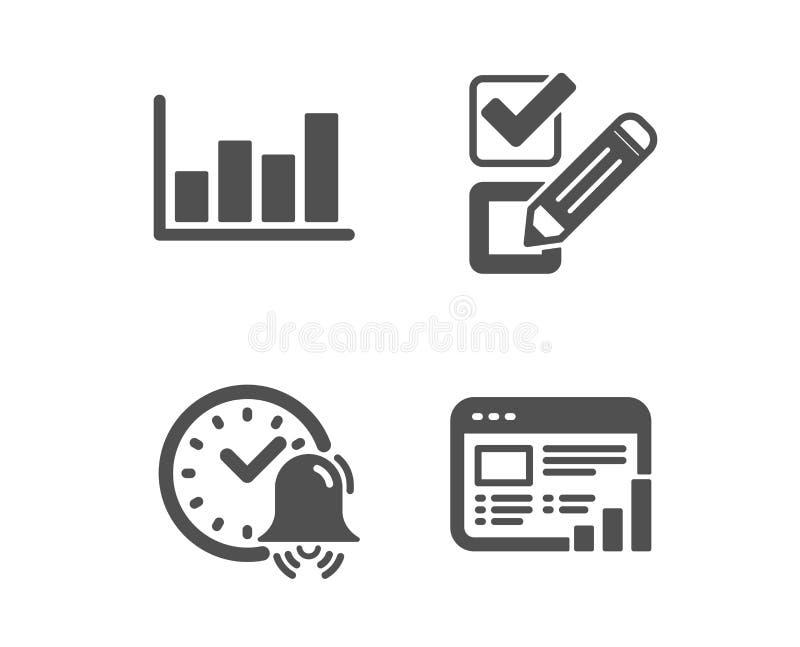 Varningsklocka-, checkbox- och rapportdiagramsymboler Reng?ringsdukrapporttecken Tid granskningsval, finansmarknad vektor stock illustrationer