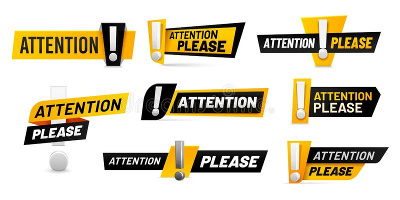 Varningsskyltar Viktigt meddelande, varningsramar med utropstecken och ett svart och gult varningsmärke vektor illustrationer