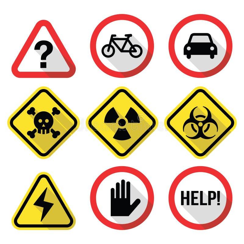 Varningstecken - fara, risken, spänning - plan design vektor illustrationer
