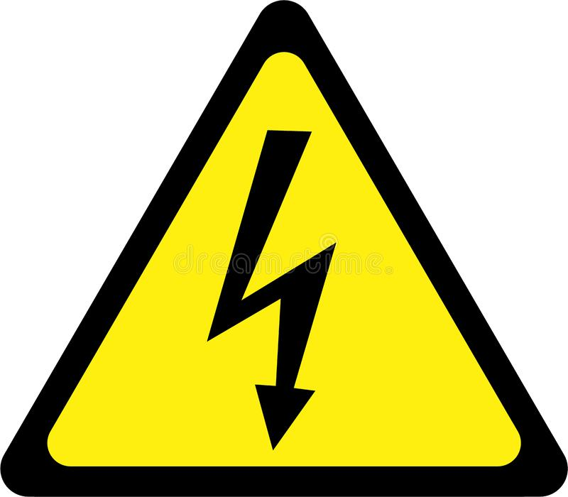 Varningstecken med chock stock illustrationer