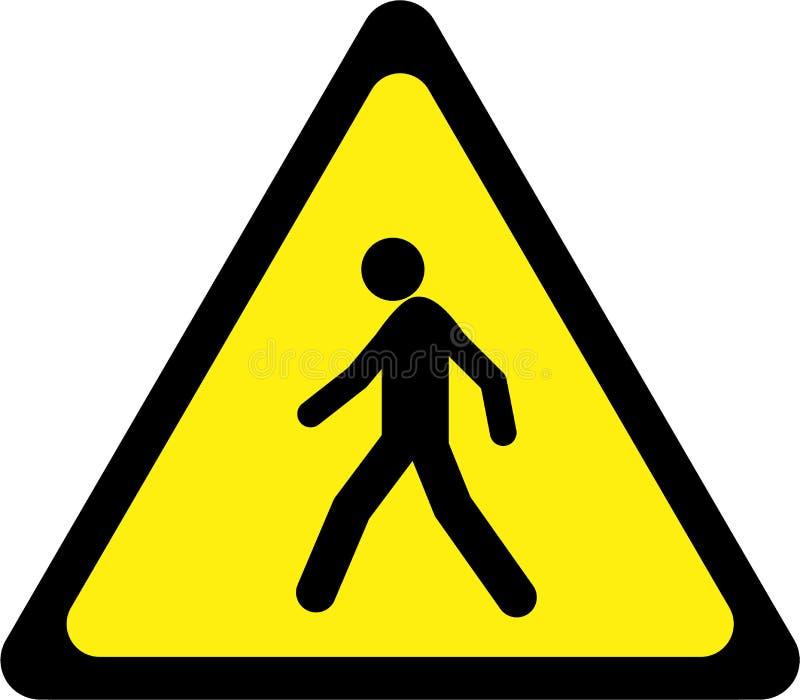 Varningstecken med gångaren royaltyfri illustrationer