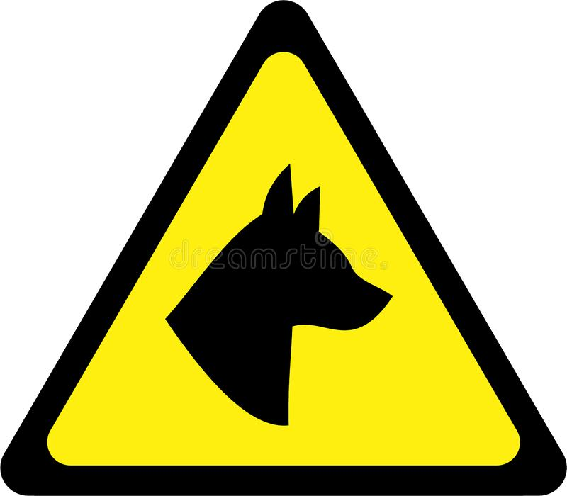 Varningstecken med hunden royaltyfri illustrationer