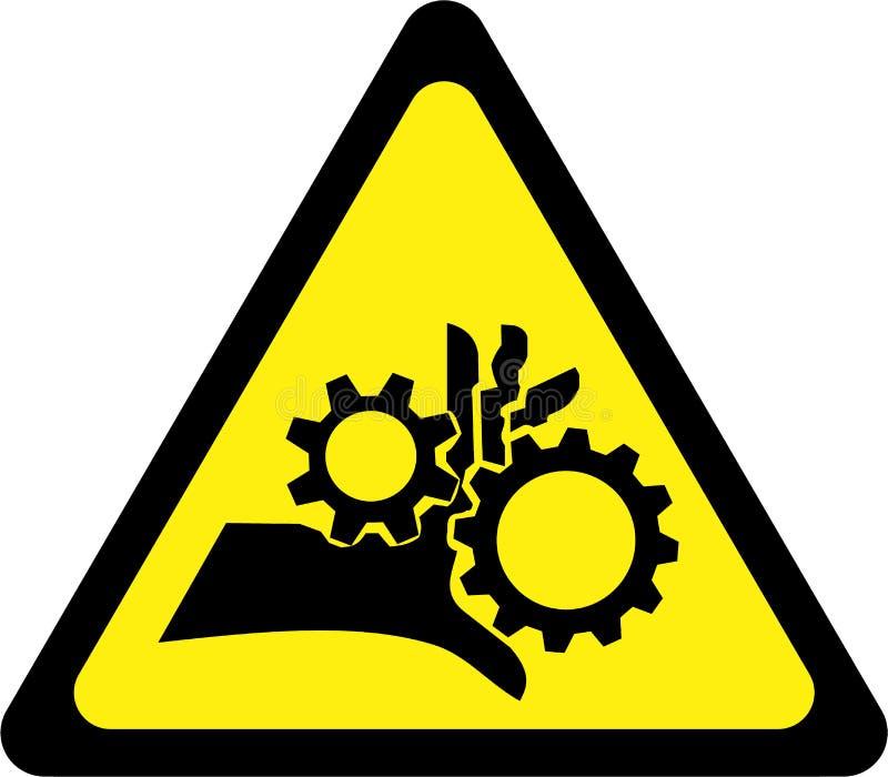 Varningstecken med roterande delar stock illustrationer