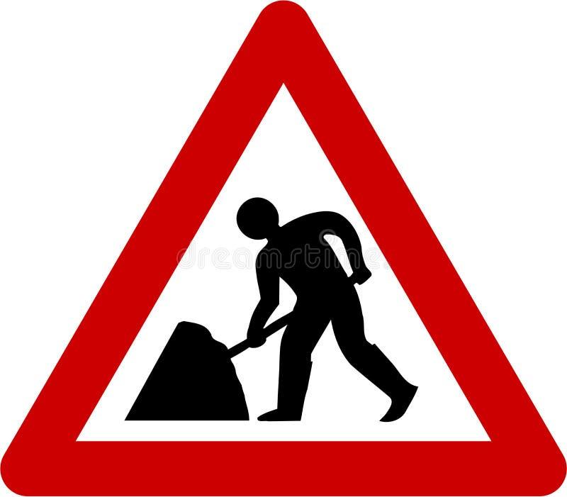 Varningstecken med vägarbeten royaltyfri illustrationer