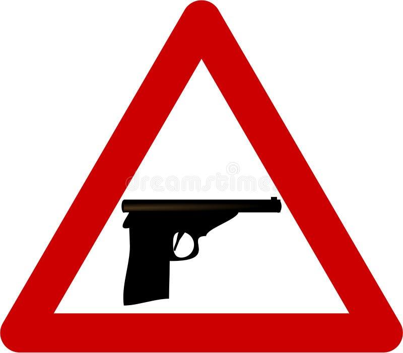 Varningstecken med vapnet stock illustrationer