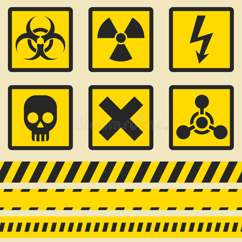 Varningstecken, symboler Sömlöst band stock illustrationer