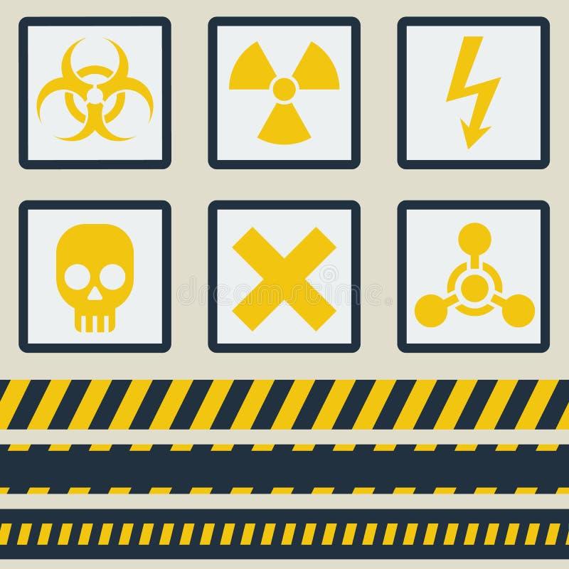 Varningstecken, symboler vektor för set för tecknad filmhjärtor polar Sömlöst band royaltyfri illustrationer