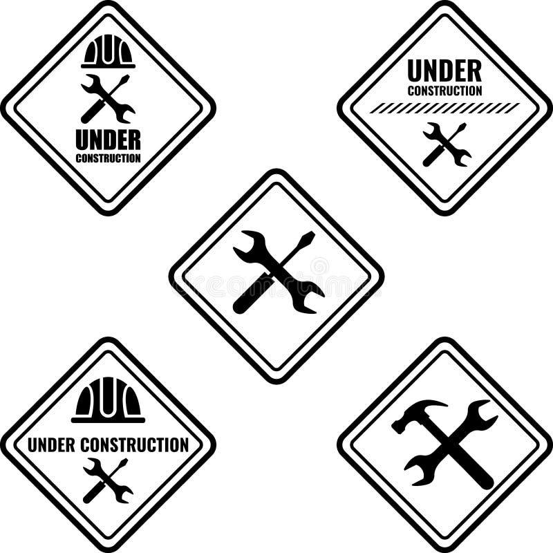 Varningstecken under konstruktion Vektorlogobegrepp stock illustrationer