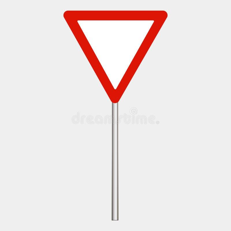Varningsvägmärke på grå bakgrund, röd triangel Gör vägen också vektor för coreldrawillustration royaltyfri illustrationer