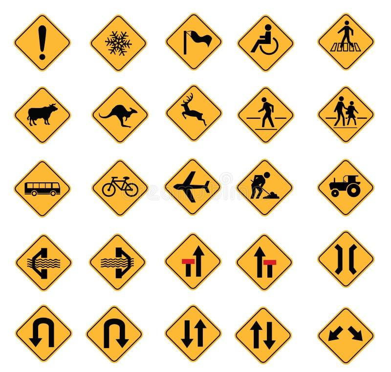 Varningsvägmärken royaltyfri illustrationer