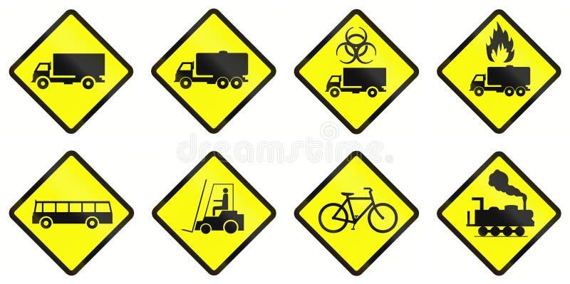 Varningsvägmärken i Indonesien stock illustrationer