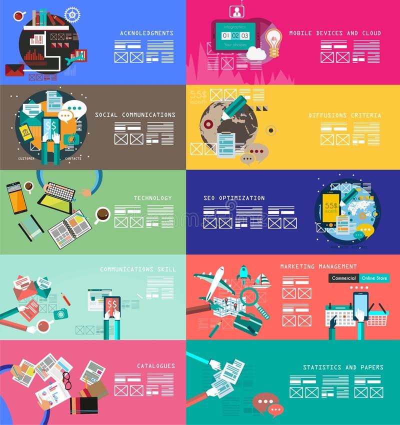 Varoius-Designe: Idealer Arbeitsplatz für Teamwork und Brainsotrming mit flacher Art lizenzfreie abbildung