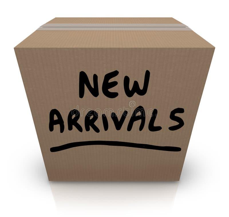 Varor för produkter för ny ankomstkartong senast royaltyfri illustrationer