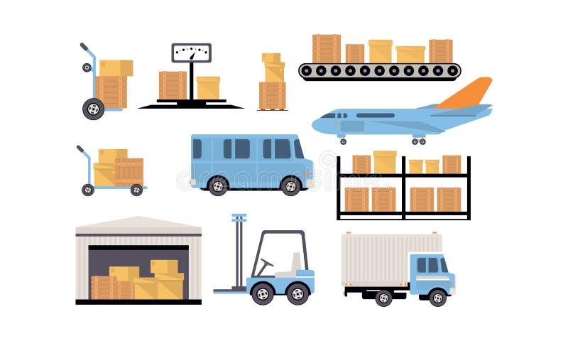 Varorlager och logistisk, lagringsbyggnad, hyllor med gods, last och avlastning av transportvektorn royaltyfri illustrationer