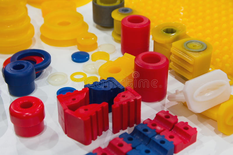 Various products from polyurethane on the exhibition stand stock images