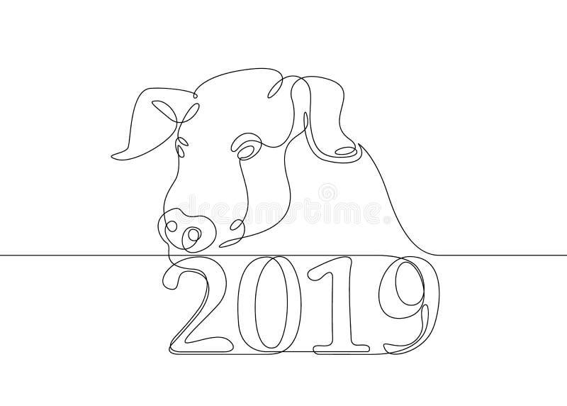 Varrão chinês do porco do calendário ilustração royalty free