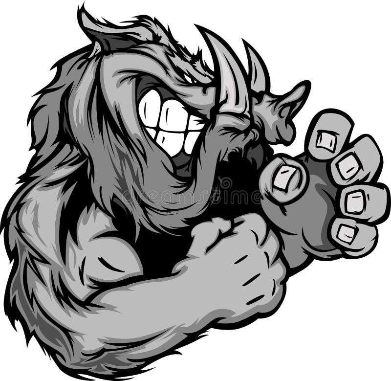 Varrão ou mascote selvagem do porco com mãos da luta