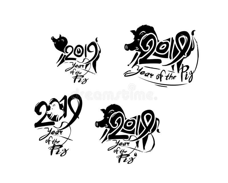 Varrão 2019 Porco 2019 Ajuste de quatro moldes escritos à mão com a inscrição e o porco ilustração do vetor