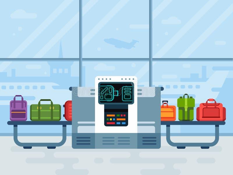 Varredor da bagagem do aeroporto Os varredores seguros da correia da polícia fazem a varredura da bagagem dos passageiros da linh ilustração do vetor