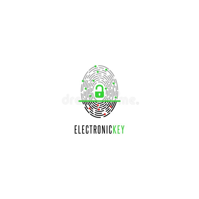 Varredor da impressão digital com um fechamento aberto com identificação, o conceito da assinatura eletrônica com autorização bio ilustração royalty free