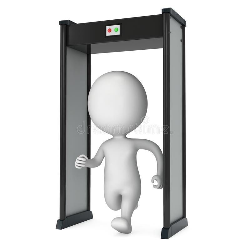 varredor do detector de metais 3D e homem running no branco ilustração stock