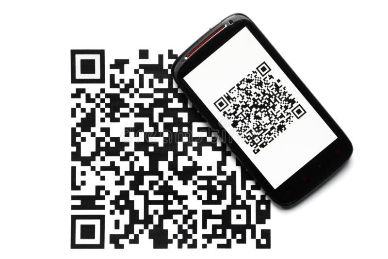 Varredor do móbil do código de QR imagens de stock