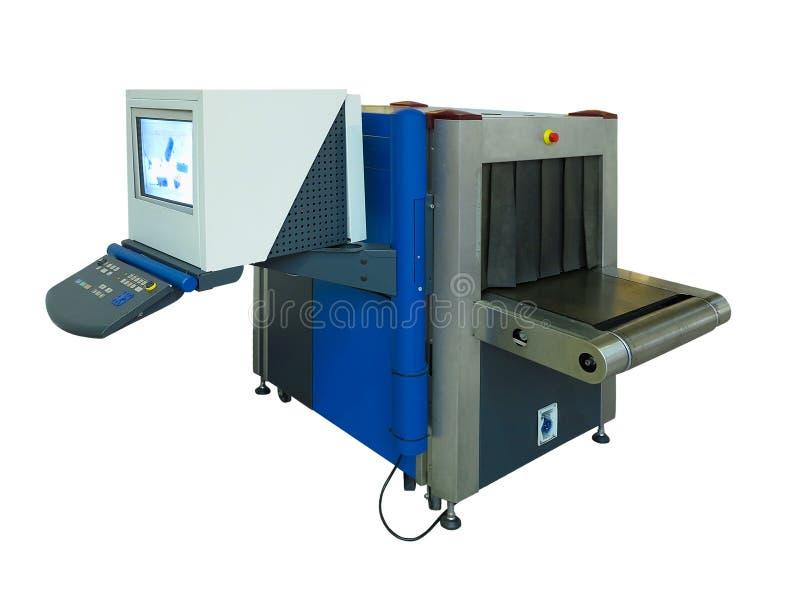 Varredor e detector de metais novos azuis do raio X na segurança aeroportuária ch imagem de stock royalty free