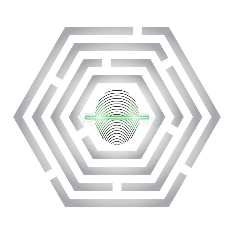 A varredura da impressão digital fornece o acesso da segurança Identificação da biométrica Leitor de impressão digital no labirin ilustração royalty free
