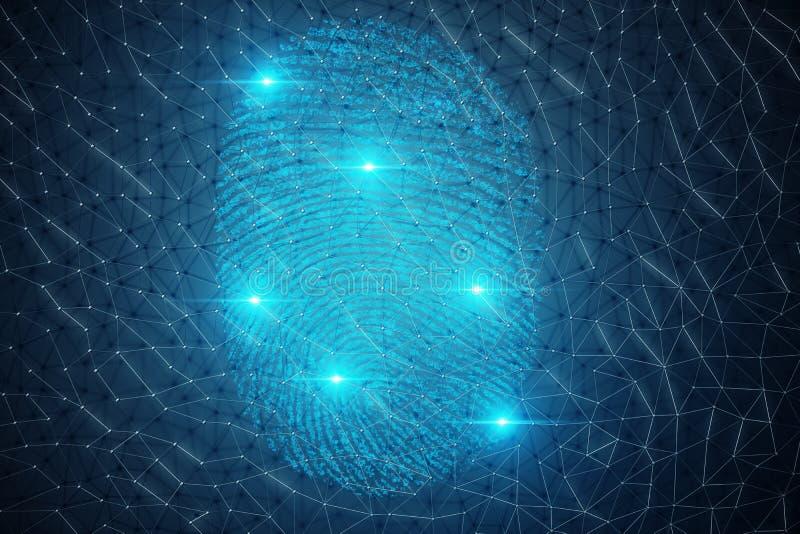 a varredura da impressão digital da ilustração 3D fornece o acesso da segurança a identificação da biométrica Proteção da impress ilustração stock
