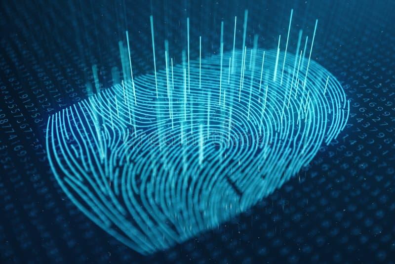 a varredura da impressão digital da ilustração 3D fornece o acesso da segurança a identificação da biométrica Proteção da impress imagem de stock