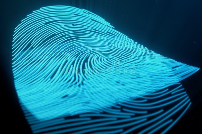 a varredura da impressão digital da ilustração 3D fornece o acesso da segurança a identificação da biométrica Proteção da impress ilustração do vetor