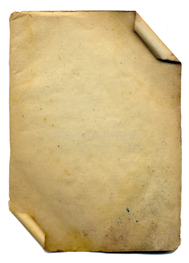 Varredura do papel velho no fundo branco imagens de stock