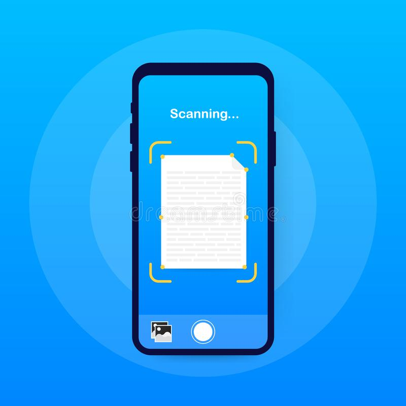 Varredura do texto Molde do vetor da relação do smartphone do varredor do documento Disposição de projeto azul do inclinação da p ilustração stock