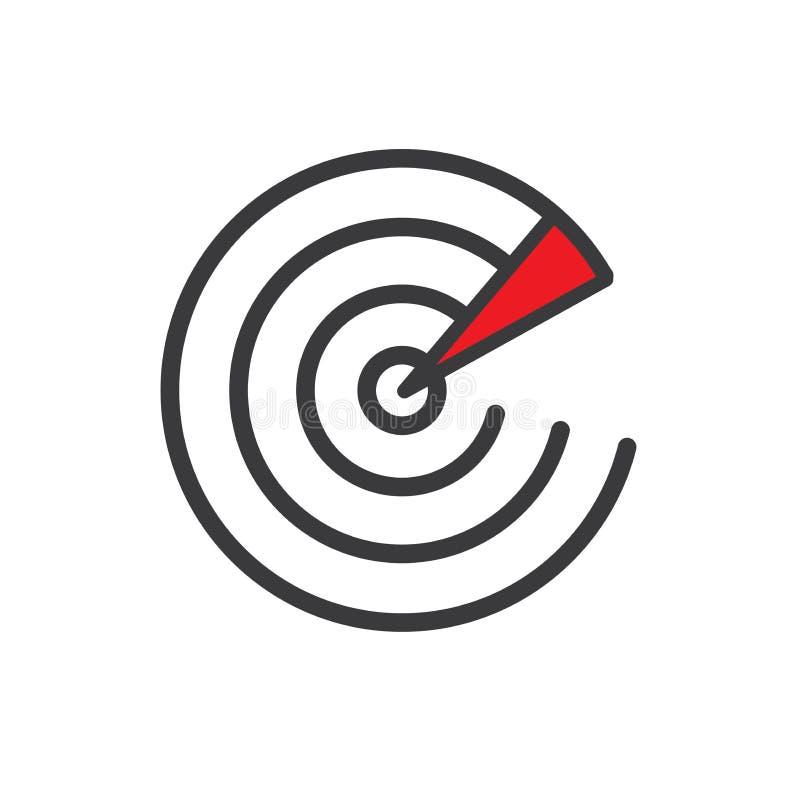 A varredura ou a sonar do radar que comunicam-se com a transmissão acenam para trás a ilustração stock