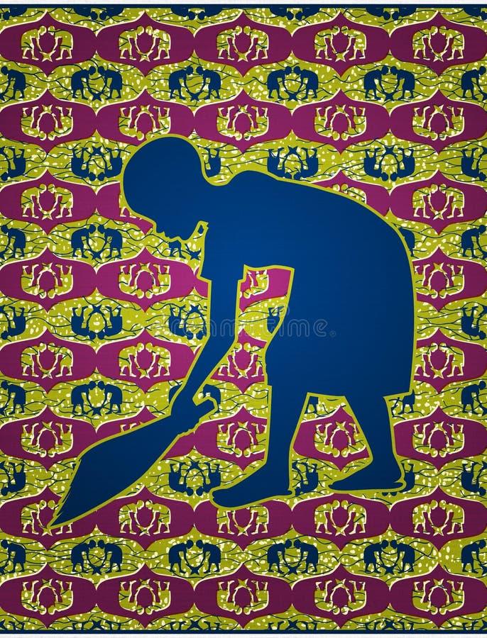 Varrer africano da menina ilustração stock