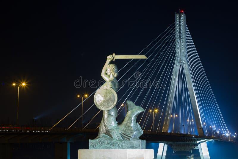 Varsóvia pela sereia da noite no Vistula River e na ponte Swietokrzyski foto de stock