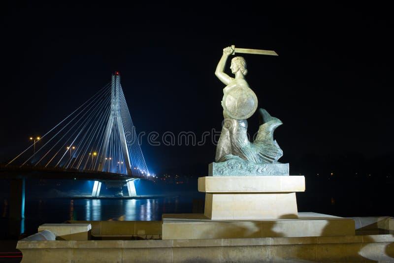 Varsóvia pela sereia da noite no Vistula River e na ponte Swietokrzyski imagem de stock royalty free