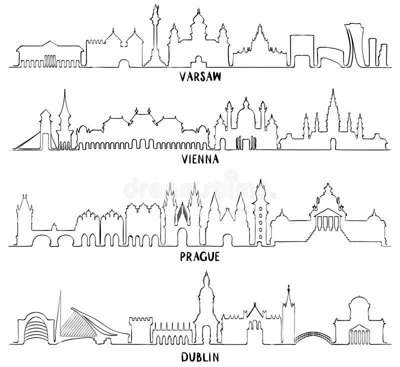 Varsóvia, Viena, Praga e Dublin ilustração do vetor