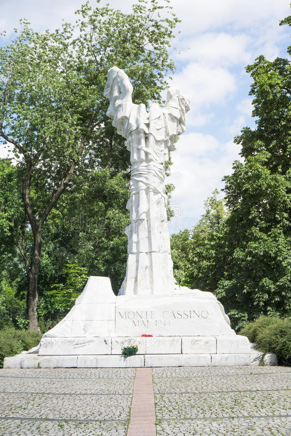 VARSAVIA - 6 giugno 2017 - il monumento alla battaglia di Monte Cassino ha disposto a Varsavia fotografia stock