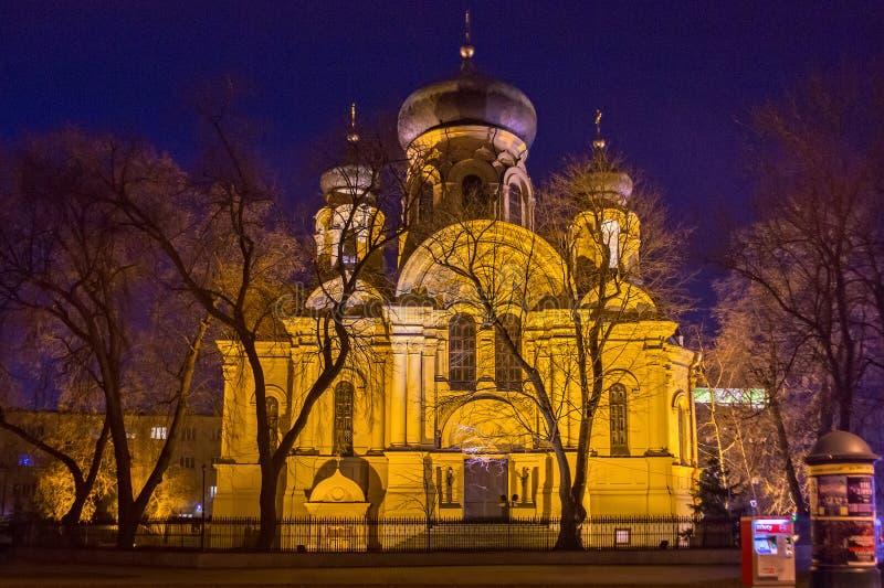 VARSAVIA, POLONIA - 1° GENNAIO 2016: Cattedrale polacca del ortodox di stile della st Mary Magdalene Russian Revival fotografie stock libere da diritti