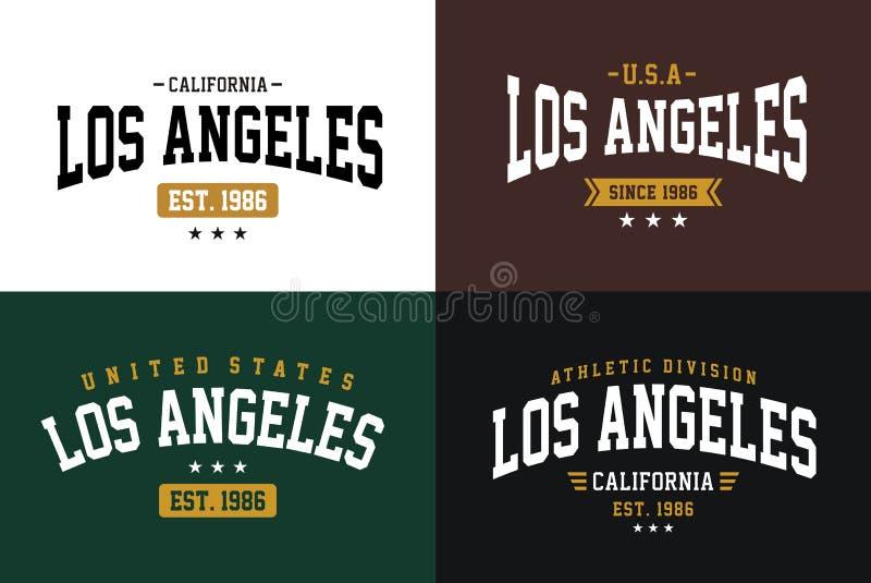 Varsitystijl van reeksetiketten, de atletieksporttypografie van Los Angeles voor t-shirtdruk royalty-vrije illustratie