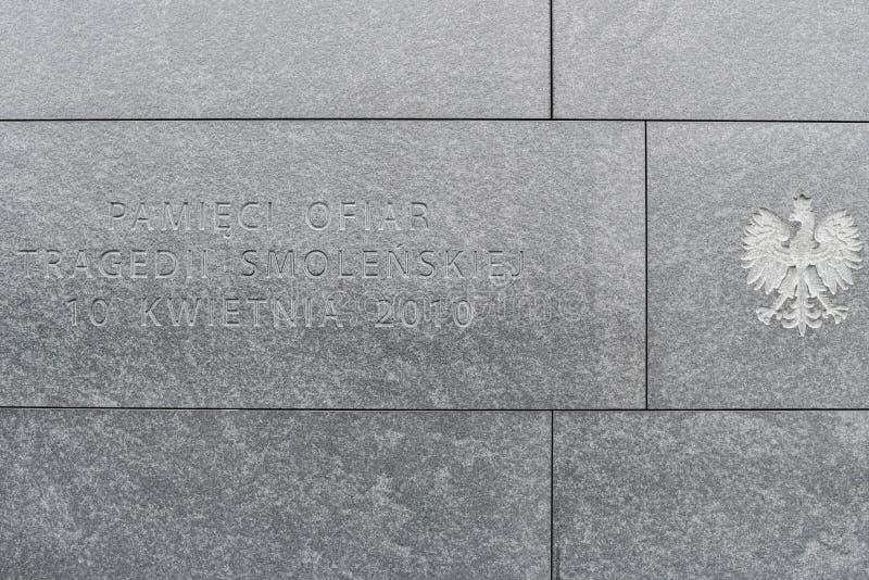 Varsovia, Polonia, el 17 de febrero de 2019: Monumento conmemorativo a las v?ctimas de la tragedia en Smolensk el 10 de abril imagen de archivo