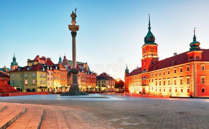 Varsovie, vieille place la nuit, Pologne, personne photographie stock