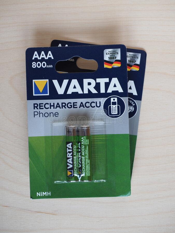 VARTA - MAY 2020: Box of Varta rechargeable batteries stock photography