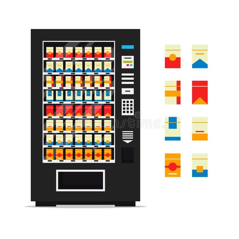 Varuautomat med cigaretter som isoleras på vit bakgrund Säljare för främre sikt för försäljaremaskin automatisk, utmatarelägenhet vektor illustrationer