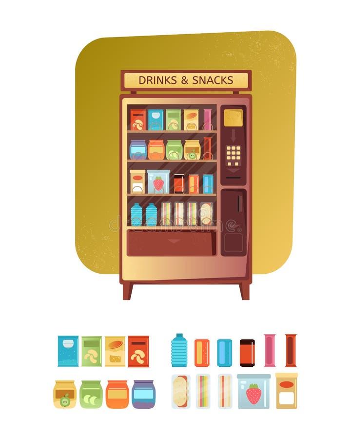 Varuautomat med mat och drinken stock illustrationer
