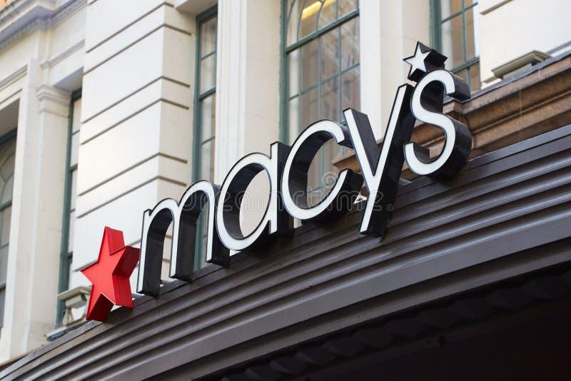 Varuhuset för Macy ` s undertecknar in Herald Square, New York royaltyfria foton
