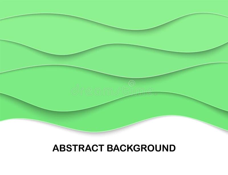 Varvade Papercut snider bakgrunden 3D Grönt krabbt kort Eco orientering för artikeln, titelrad I lager hantverk Textställe stock illustrationer